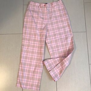 NEW auth BURBERRY GOLF pink plaid Cropped pants